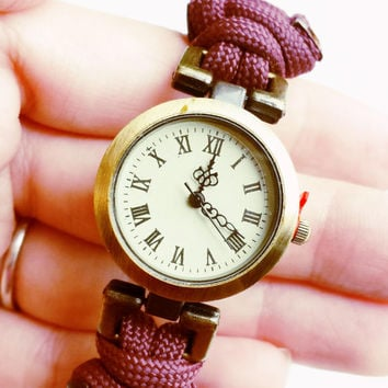 Paracord Watch - 550 Burgundy Paracord - Unisex Watch - Military Survival Watch - Gifts for Him - Christmas Gift for Him or Her