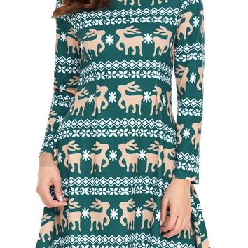 Christmas Reindeer Print Green Swingy Mini Dress