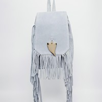 River Island Suede Fringed Sharks Tooth Backpack