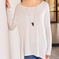 Solid Piko Top (LS) - Ivory