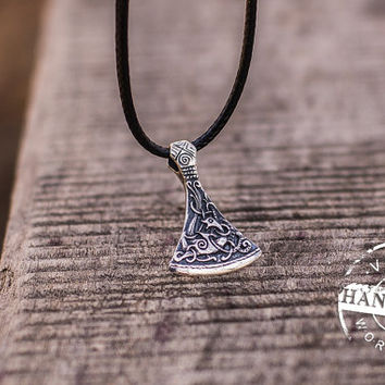 Viking Axe Pendant Viking Amulet Sterling Silver Necklace Scandinavian Norse Jewelry (Mammen Stylization)