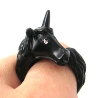 Large Detailed Unicorn Animal Wrap Around Ring in Black - Size 5 to 8