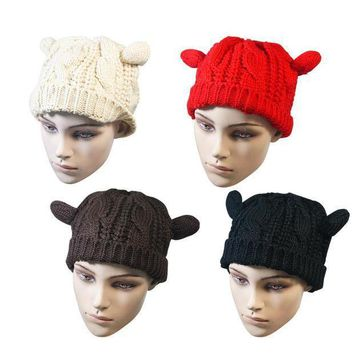 New Winter Hats For Women Lady Girls Winter Warm Knitting Wool Cute Cat Ear Beanie Ski 4 Solid Colors Beauty Skullies Beanies