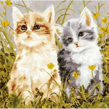 Digital Diy oil painting cat by numbers wall decor picture on canvas oil paint coloring by number drawing animals