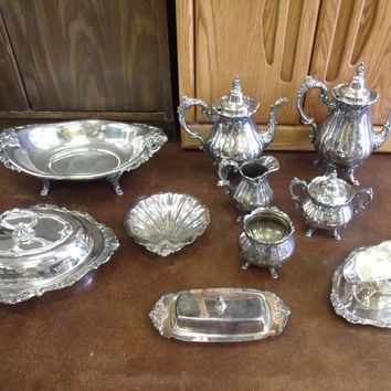 Antique Wallace Baroque Silver Serving Set Large Lot Coffee Tea Butter Dishes +