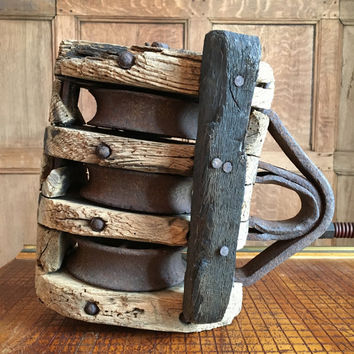 Large Antique Wood Pulley, Three Wheel Wood And Iron Block And Tackle, Rustic Home Decor