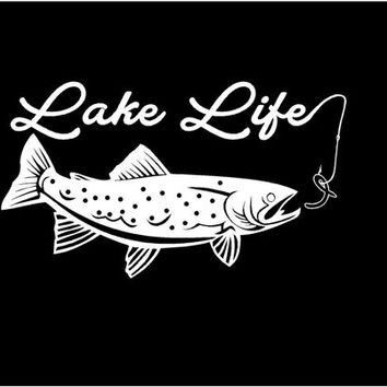 Lake Life Vinyl Decal car truck auto vehicle window custom sticker trout fishing decal