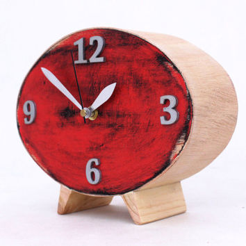 FREE SHIPPING Table Clock, Wood Red Clock, Ellipse Desk clock, Red Black Silver Oval clock, Distressed Mantel clock, Cyber Monday