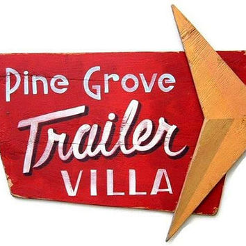 Retro Sign, Trailer Villa, Atomic, Hand Painted