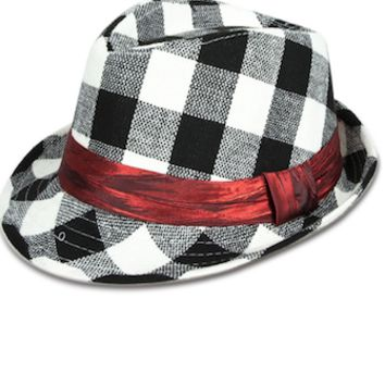 Black And White Checker Baby Prop Fedora Hat - CCHT107