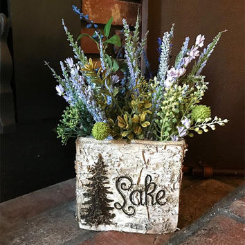 Lake House Planter Birch Square Box Rustic Farmhouse Decor Flower Vase Decorations Wedding Shower Housewarming Gift Woodland Lodge Houseware