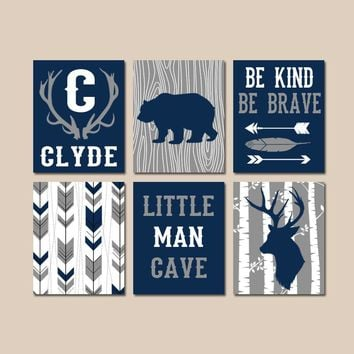 WOODLAND NURSERY Wall Art, Baby Boy Tribal Decor, Arrows Deer Bear Antlers, Little Man Cave, Be Brave Kind, Canvas or Prints, Set of 6
