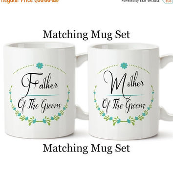 Coffee Mug, Father And Mother Of The Groom Set, Floral Wreath, Wedding Party Gifts, Design,