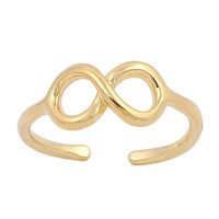 Infinity Mid Finger / Mid Knuckle Ring Yellow Gold Plated Silver - 5mm