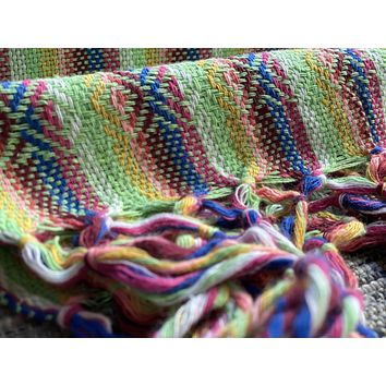 Mexican Rebozo Shawl - Bright Green Rainbow