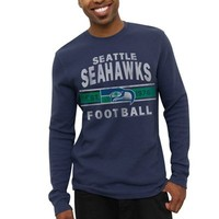 Seattle Seahawks Vintage Team Arch Thermal Long Sleeve T-Shirt - College Navy