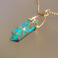 Genuine Natural CHRYSOCOLLA point Gold plated Sterling Silver pendant Necklace