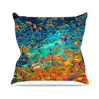 "Ebi Emporium ""Eteranl Tide II"" Teal Orange Throw Pillow"