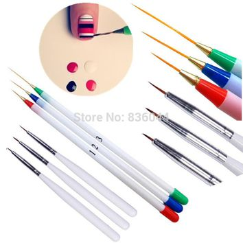 Set 6Pcs/Pack Fine Drawing Striping Liner Design Tips Nail Art Pen Brushes Brush Salon DIY Gel UV Tool Manicure