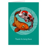 Thanks For Being There Koi Carp Fish Cartoon Greeting Card