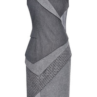 Wool Flannel Stretch Asymmetric Tuxedo Dress by Prabal Gurung - Moda Operandi