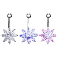 Flower Zircon Button Barbell Navel Belly Ring Dangle Body Piercing Dance Jewelry