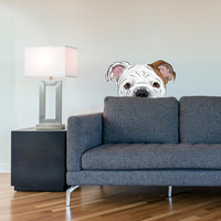 Peekaboo Bulldog Printed Wall Decal