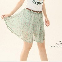 New Arrive Elegant Shivering Chiffon Short Skirt With Belt Green-Wholesale Women Fashion From Icanfashion.com
