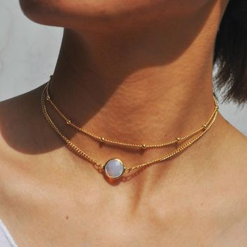Natural Crystal 2 Layer Choker Necklace Gold Color Chain Opal Stone Pendant Necklace for Women Jewelry 171127