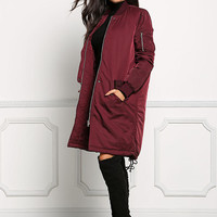 Burgundy Longlined Bomber Jacket