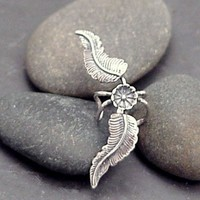 Sterling Silver Leaf Ear Cuff - FAIRY WINGS