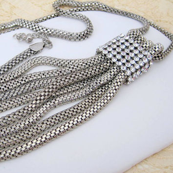 Vintage Whiting Davis Style Rhinestone Long Silver Mesh Tassel Necklace