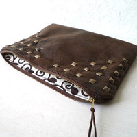 Vegan Clutch, handbag, studded clutch, FAUX LEATHER, faux suede in brown, very soft and lightweight, Ready To Ship.