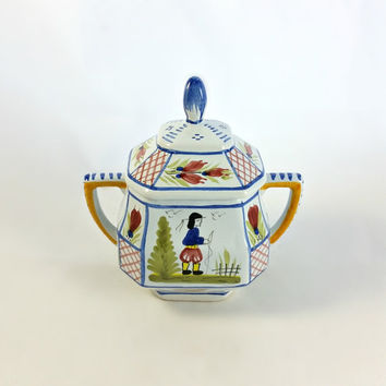 "Vintage HB French Quimper Mistral Blue ""Male"" Double Handled Sugar Bowl & Lid - Lidded Sugar Bowl - Double Handled Sugar Bowl"