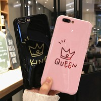 Crown For iPhone 6 6s 7 8 X Plus Case clean smooth King Queen Phone Case Soft TPU silicone For iPhone 6 6S 7 8 X Plus Case Cover