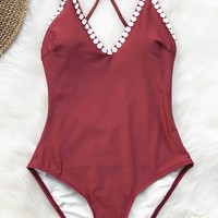 Cupshe Heartbeat Song Lace One-piece Swimsuit
