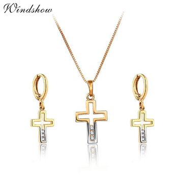 Small Mixed colors Gold Color Cut Out Cross Pave CZ Drop Pendant Necklace Earrings Cute Jewelry Sets For Women Girls Kids Gift