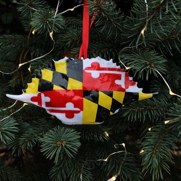 Maryland Flag / Crab Shell Ornament