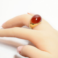 14k Deep Red Carnelian Gemstone Dome Ring // yellow gold and red gemstone jewelry, Vintage Carnelian Ring
