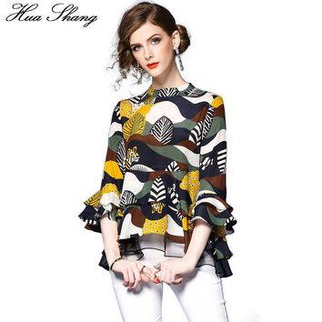 2017 Spring Summer Streetwear Chiffon Blouse Women Floral Print Flare Sleeve Layers Ruffles Blouse Elegant Vintage Women Tops