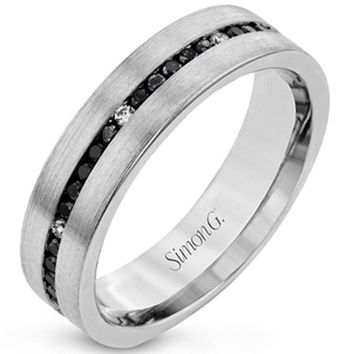 Simon G. Black and White Diamond Wedding Band