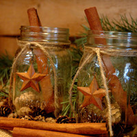 Rustic set of 2 Mason Jars with Barn Stars holiday decor