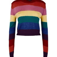 Rainbow Stripe Cropped Jumper | New Look