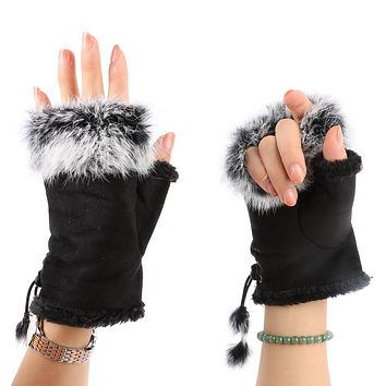 Quality Guarantee Fashion Women's Faux Rabbit Fur Hand Wrist Warmer Half Finger Gloves Winter Glove 13 Colors