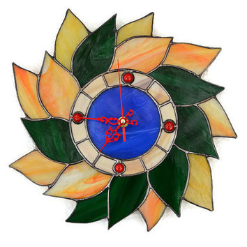 Wall Clock Fall Leaves Wreath in blue, red, green, orange, yellow and wood brown, Unique stained glass autumn wall decor in retro style