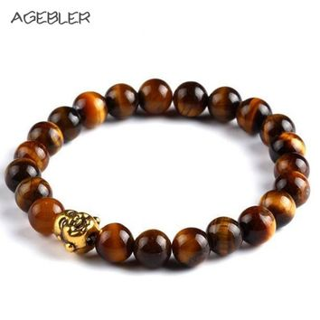 New Fashion Men's Tibet Charm Lucky Bracelets Natural Stone Gold Color  Elastic