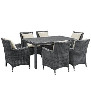 Summon 7 Piece Outdoor Patio Sunbrella Dining Set EEI-2334