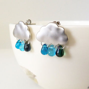 Sweet Rain - Matte Silver Plated Brass Clouds and Cezch Glass Raindrops Earrings