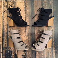 Forever Loved Black Lace Up Booties RESTOCK