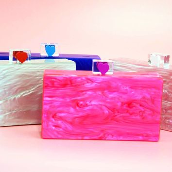Colorful Marble Acrylic Box Clutch